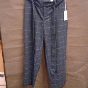 Women's High-Rise Plaid Tie Waist Straight Pants